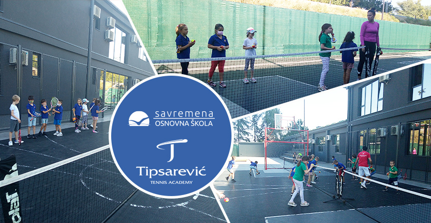 """First tennis lesson of the """"Tipsarević Academy"""" held at Primary School Savremena"""
