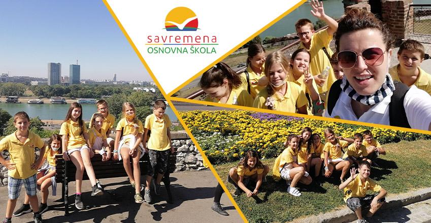 Students of Primary Savremena School on a treasure hunt at Kalemegdan